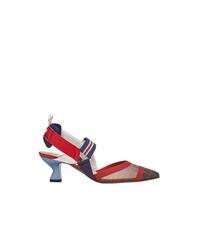 Zapatos de tacón de cuero estampados en multicolor de Fendi