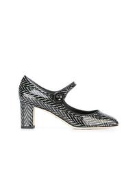 Zapatos de tacón de cuero estampados en negro y blanco de Dolce & Gabbana