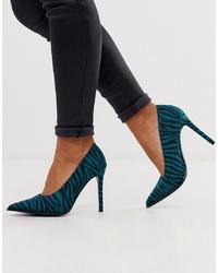 Zapatos de tacón de cuero estampados en verde azulado de ASOS DESIGN