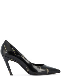 Zapatos de tacón de cuero estampados negros de Balenciaga