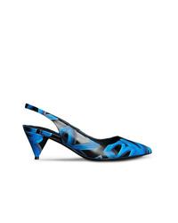 Zapatos de tacón de cuero estampados negros de Burberry