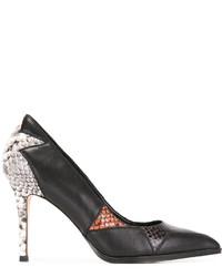 Zapatos de Tacón de Cuero Estampados Negros de Diesel