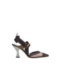 Zapatos de Tacón de Cuero Estampados Negros de Fendi