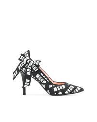Zapatos de Tacón de Cuero Estampados Negros de MSGM