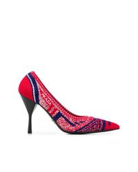 Zapatos de tacón de cuero estampados rojos de Prada