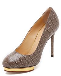 Zapatos de tacón de cuero grises de Charlotte Olympia