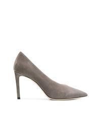 Zapatos de tacón de cuero grises de Jimmy Choo