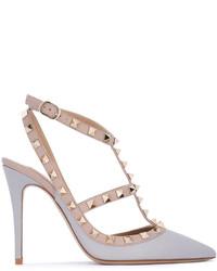 Zapatos de tacón de cuero grises de Valentino