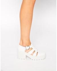 Zapatos de tacón de cuero gruesos blancos de Vagabond