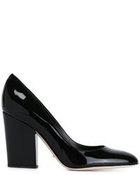 Zapatos de Tacón de Cuero Gruesos Negros de Sergio Rossi