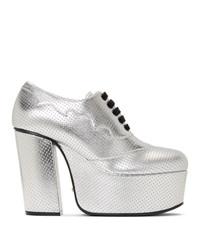Zapatos de tacón de cuero gruesos plateados de Gucci