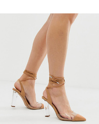Zapatos de tacón de cuero marrón claro de ASOS DESIGN