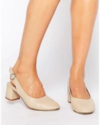 Zapatos de Tacón de Cuero Marrón Claro de Asos