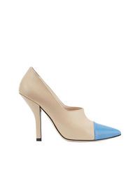 Zapatos de Tacón de Cuero Marrón Claro de Fendi