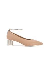 Zapatos de tacón de cuero marrón claro de Jil Sander