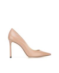 Zapatos de tacón de cuero marrón claro de Jimmy Choo