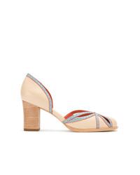 Zapatos de Tacón de Cuero Marrón Claro de Sarah Chofakian