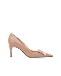 Zapatos de tacón de cuero marrón claro de Sergio Rossi