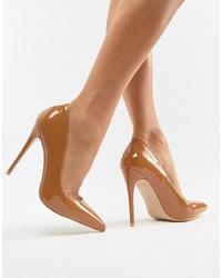 Zapatos de tacón de cuero marrón claro de SIMMI Shoes