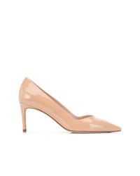 Zapatos de tacón de cuero marrón claro de Stuart Weitzman