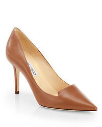 Zapatos de tacón de cuero marrónes
