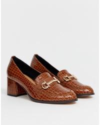 Zapatos de tacón de cuero marrónes de ASOS DESIGN