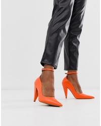 Zapatos de tacón de cuero naranjas de ASOS DESIGN