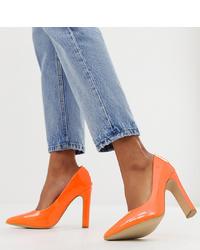 Zapatos de tacón de cuero naranjas de New Look Wide Fit