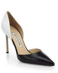 Zapatos de Tacón de Cuero Negros y Blancos