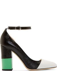 Zapatos de Tacón de Cuero Negros y Blancos de Thom Browne