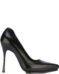 Zapatos de tacón de cuero negros de Ann Demeulemeester