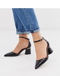 Zapatos de tacón de cuero negros de ASOS DESIGN