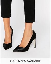 Zapatos de tacón de cuero negros de Asos