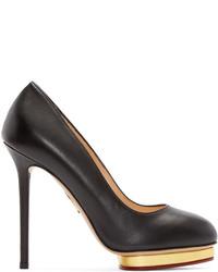Zapatos de tacón de cuero negros de Charlotte Olympia