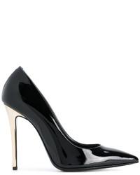 Zapatos de tacón de cuero negros de Ermanno Scervino