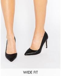 Zapatos de Tacón de Cuero Negros de Faith