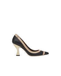 Zapatos de Tacón de Cuero Negros de Fendi