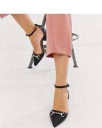 Zapatos de tacón de cuero negros de Raid Wide Fit