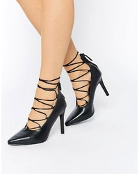 Zapatos de Tacón de Cuero Negros de Senso