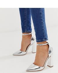 Zapatos de tacón de cuero plateados de ASOS DESIGN