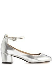 Zapatos de tacón de cuero plateados de Asos