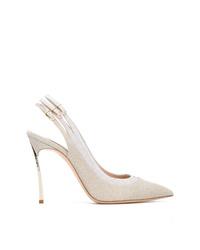 Zapatos de tacón de cuero plateados de Casadei