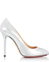 Zapatos de tacón de cuero plateados de Charlotte Olympia