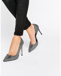 Zapatos de tacón de cuero plateados de Dune