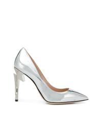 Zapatos de tacón de cuero plateados de Giuseppe Zanotti