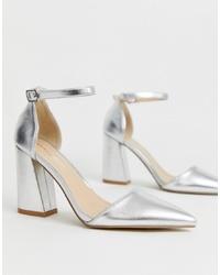 Zapatos de tacón de cuero plateados de Glamorous