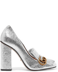 Zapatos de Tacón de Cuero Plateados de Gucci