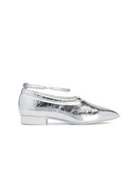 Zapatos de tacón de cuero plateados de Jil Sander