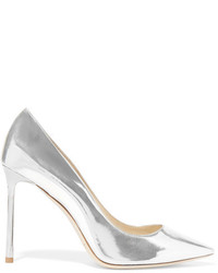 Zapatos de tacón de cuero plateados de Jimmy Choo