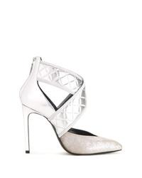 Zapatos de tacón de cuero plateados de Lanvin
